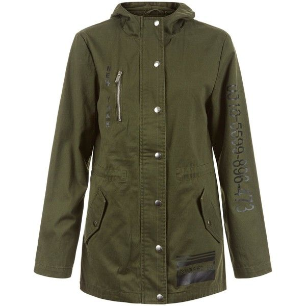 Teens Khaki Barcode Print Parka ❤ liked on Polyvore featuring outerwear, coats, green coat, khaki green parka, khaki coats, khaki green coat and khaki parkas