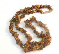 Tigers Eye Gemstone Chip Beaded Necklace.