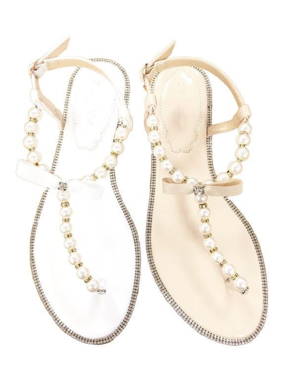 WOMEN SANDALS White and Nude Patent Pearl/Rhinestones by kaileep