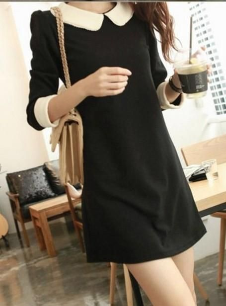Black Cute Korean Fashionable Dress with White Peter Pan collar and Cuffs 3