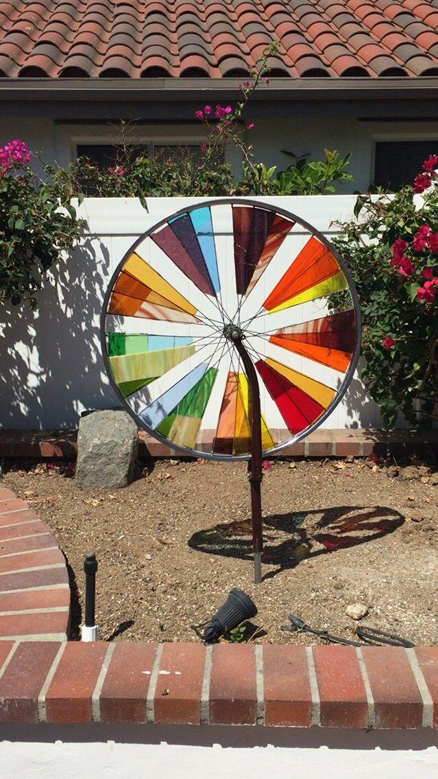 Stained glass bike wheel