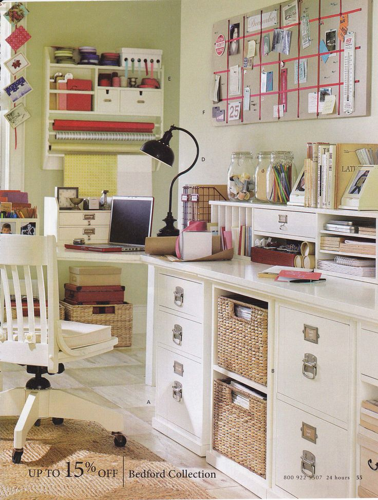 Craft Room: this has several good ideas -long bars for ribbon and a large board I could make with material and ribbon to just stick stuff on...