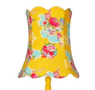 Canary yellow lamp stand with vibrant yellow red and turquoise Japanese print shade