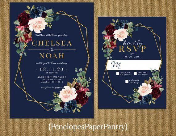 Elegant Navy Floral Save The Date Photo Card,Burgundy,Blush,Marsala,Roses,Gold Print,Shimmery,Personalize,Printed Cards