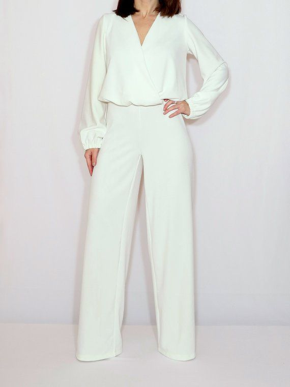 f07c81155fe White jumpsuit for women   White wedding jumpsuit   70s jumpsuit