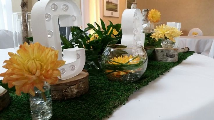Table d'honneur  Orange- vert - bouleau