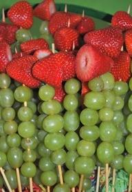 Very Hungry Caterpillar fruit kabobs.