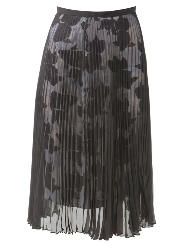 Gold fish print lining - black pleated sheer skirt