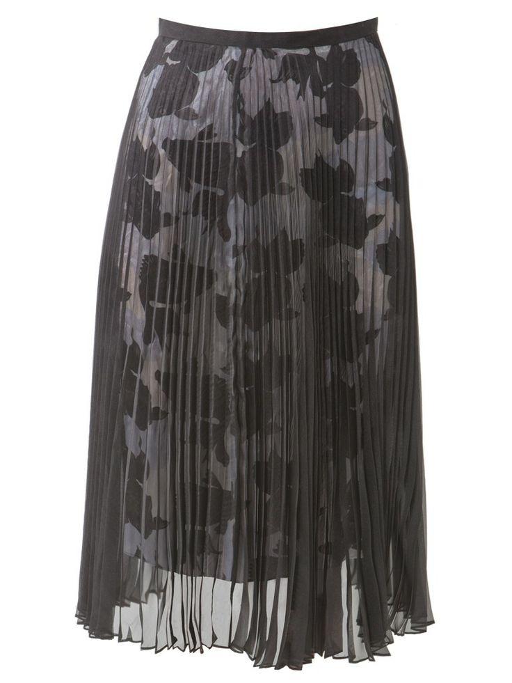 Gold fish print lining - black pleated sheer skirt