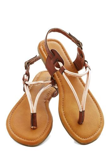 Stop at the Summit Sandal - Flat, Faux Leather, Gold, Solid, Daytime Party, Beach/Resort, Summer, Good, Slingback, Strappy, Brown