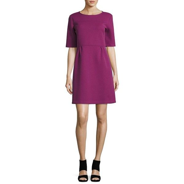 Weekend Max Mara Flared Scuba Dress ($315) ❤ liked on Polyvore featuring dresses, purple, pintucked dress, purple dress, back zipper dress, elbow sleeve dress and half sleeve dresses