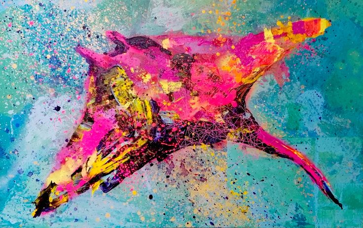 tropical stingray modern art contemporary painting colourful mixed media over canvas - IG @gabewong1