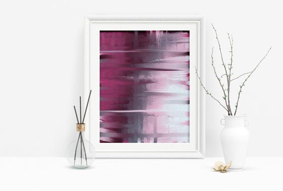 Printable Magenta and Grey Abstract Art by PlayfulPixieStudio.  Simple, affordable art, ready to download!  A modern touch for any home decor, available in several sizes up to 16x20 inches to suit any space :) #abstractart #homedecor #wallart