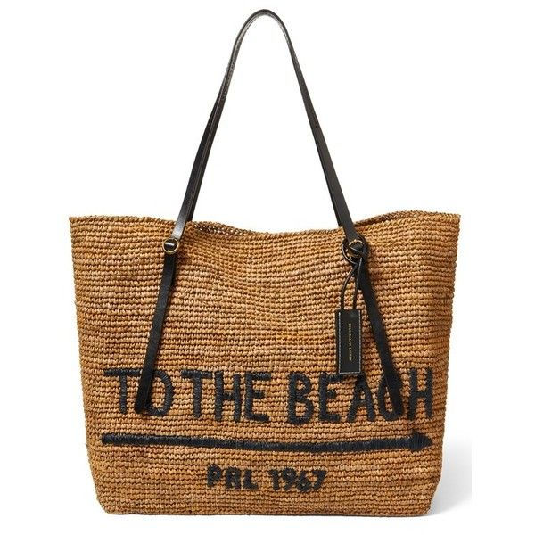 532390a124 Women s Polo Ralph Lauren Lennox Raffia Beach Tote (68 KWD) ❤ liked on  Polyvore featuring bags