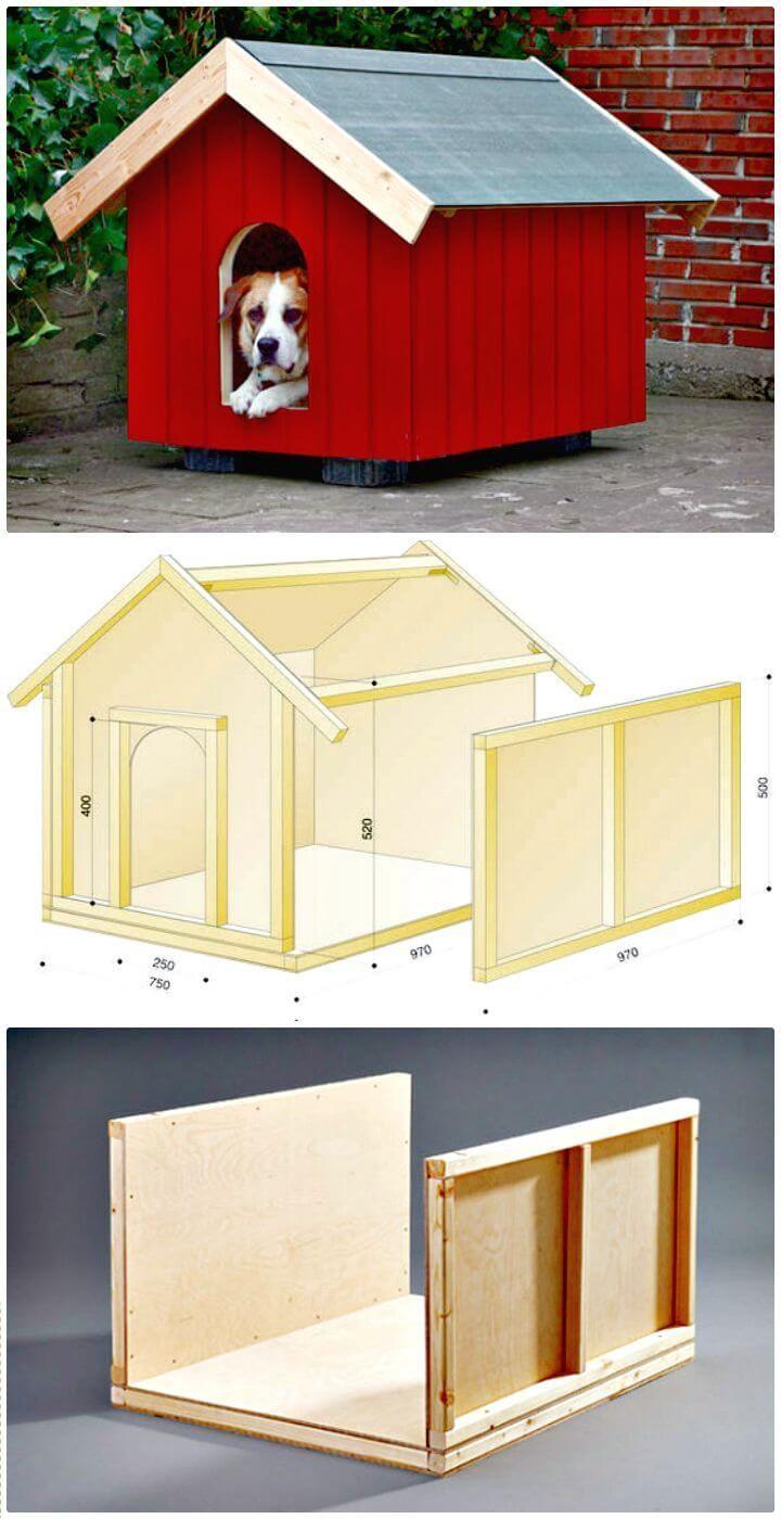 Easy Diy Dog House Step By Step Tutorial Easy Dog House Dog House Diy Outdoor Dog House Plans