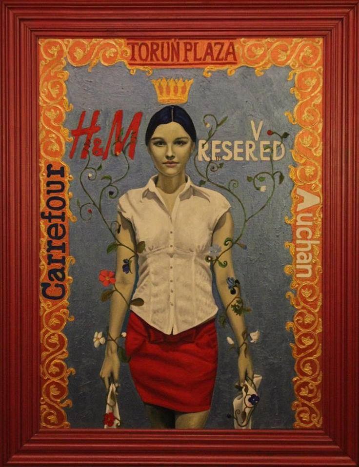 """,,Zakupy w Toruń Plaza"""" 2012r. olej-akryl na płótnie, 100x73cm. Obraz nagrodzony w konkursie..."""