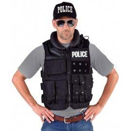 Déguisement gilet tactique police noir homme luxe