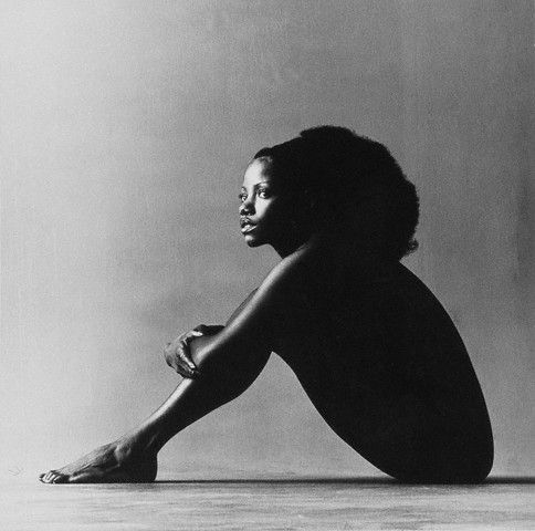 "Melba Moore, seated in a nude pose, July 1971 by Jack Robinson.  The photo, which appeared in the October 15, 1971 issue of Vogue, was taken as Ms. Moore was touring the country after appearing on Broadway in ""Hair"" and ""Purlie."""