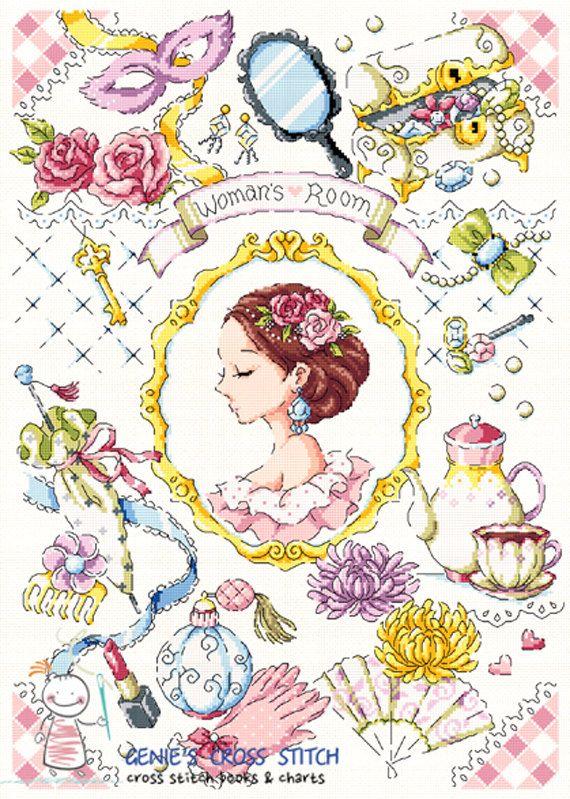 Woman's Room Cross stitch pattern leaflet. by GeniesCrossstitch