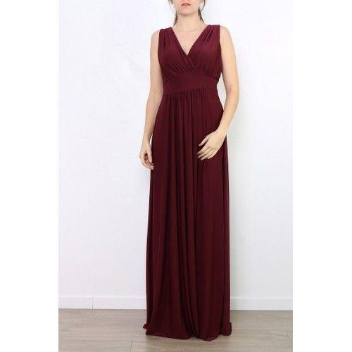 Vestido Burdeos Largo Liso | Suen-Vestidos de fiesta