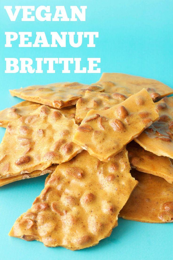 Vegan Peanut Brittle. Deliciously sweet and crunchy. Wonderful as a dessert or snack. #vegan #lovingitvegan #glutenfree #dairyfree #dessert #peanutbrittle