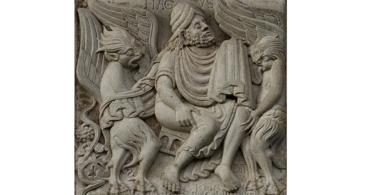Relief on the Miègeville's gate of the basilica Saint-Sernin in Toulouse. The relief shows Simon magus, demons, and birth of the wine.
