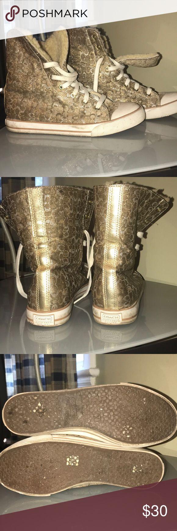 Gold COACH Tennis Shoes Very cute metallic gold and silver COACH Bonney shearling high top tennis shoe Coach Shoes Athletic Shoes