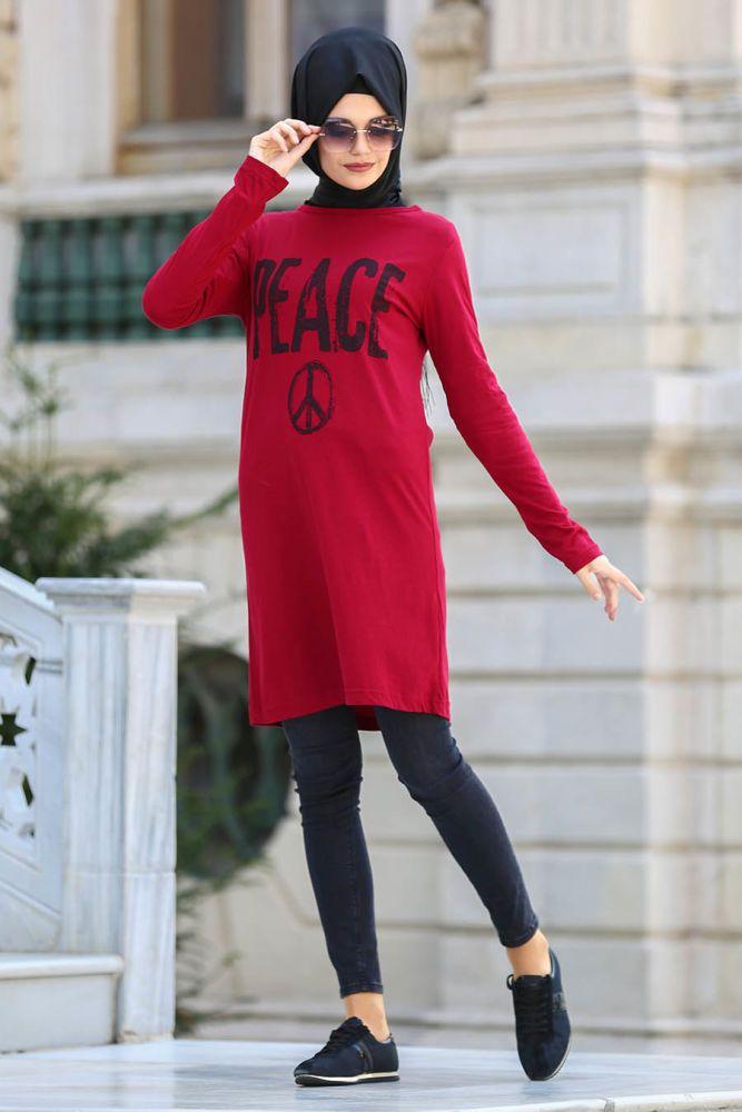 Neva Style - Claret Red Hijab Tunic 1016BR