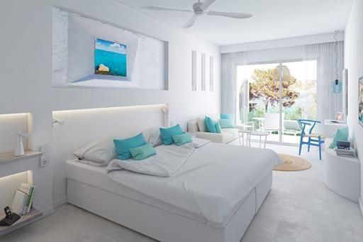 """Club Portinatx (Hotel) in Ibiza via TUI. """"Dit fantastische complex is nu nog voorzien van een 3-sterrenclassificatie, maar zal in het zomerseizoen van 2016 veranderen in een 4-sterrenclassificatie. Een ster erbij betekent dat de kamers zijn voorzien van een nieuw jasje en meubilair. """""""