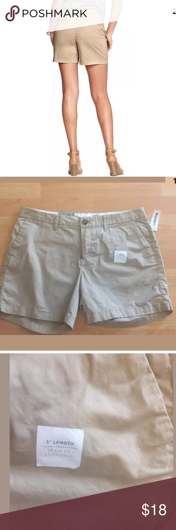 """NEW Old Navy Khaki shorts size 8 Old navy Women's shorts  Size 8  Khaki color  Cotton/spandex  5"""" length  Waist 32""""  New with tags! Old Navy Shorts"""
