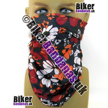 Black Floral Flower Multifunctional Headwear / Neck Tube Bandana - one of over 400 neck tube styles for men and women