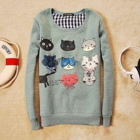 Blusa de moleton colorida 9 gatinhos
