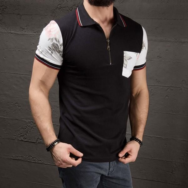 K&B Men Zip Up Polo T-shirt - Black - FASH STOP