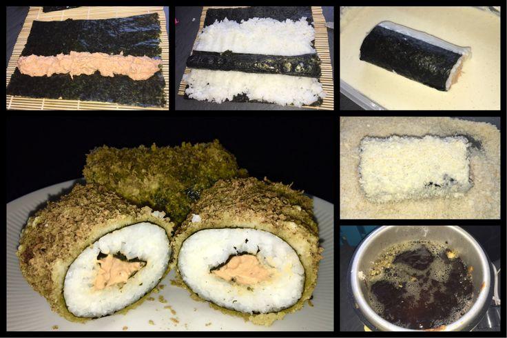 Die Sunroll ist auch beim Sushi bestellen immer wieder mein Liebling :-) Die Thunfisch Creme besteht aus 1 Dose Thunfischfilet ohne Öl, 1 EL Mayonnaise, 2EL Frischkäse u. scharfer Chilisauce. Einfa…