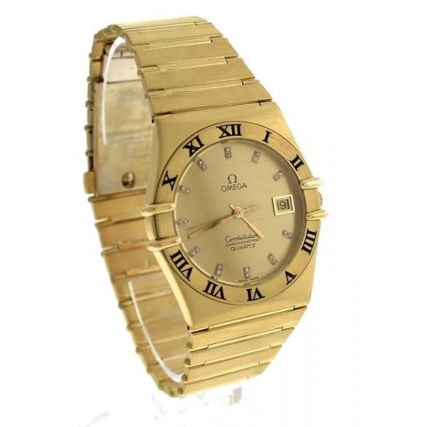 Pre-owned Omega Constellation Diamond Roman 18K Yellow Gold Quartz... ($4,909) ❤ liked on Polyvore featuring jewelry, watches, 18k gold jewelry, diamond dial watches, swiss quartz watches, unisex watches and diamond bezel watches