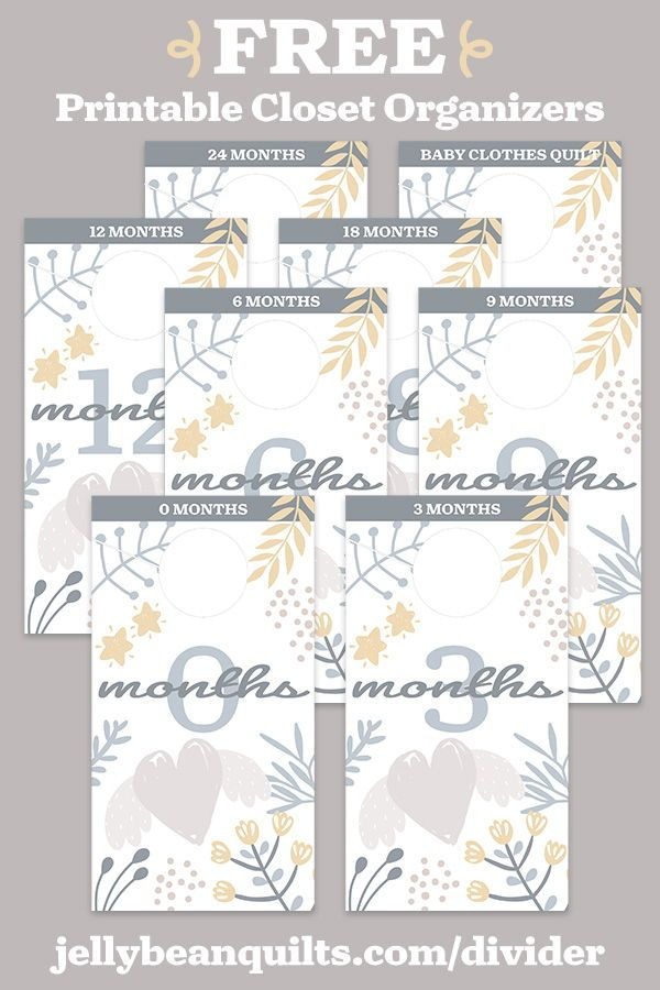 photo relating to Free Printable Closet Dividers identify Free of charge Printable Nursery Closet Dividers versus JellyBeanQuilts