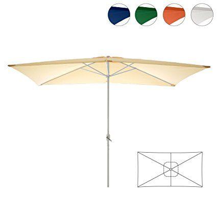 Amazon.de: Sonnenschirm eckig mit Kurbel 2x3m Marktschirm Rechteckschirm Sonnenschutz (Beige), Polyester 180 g/m², Gewicht ca. 5 kg