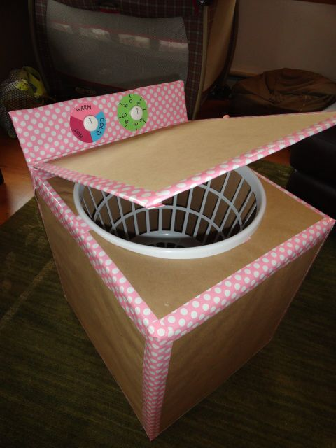 cardboard box, brown paper, pretty duct tape, laundry basket and white knobs = washing machine for kids!