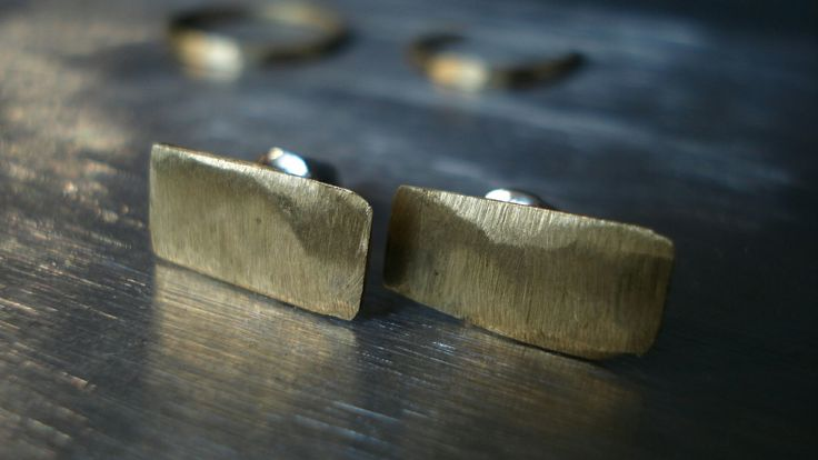 Selfmade earrings made of brass