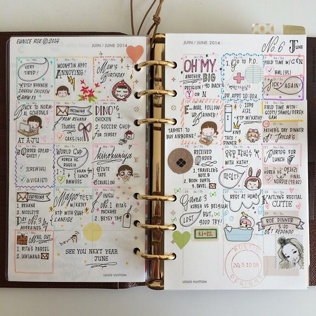 """June 2014 ••• #stationery #stickers #filofax #agenda #journal #diary #handwriting #handlettering #doodles #pens #filofaxaddicts #travelersnotebook…"""
