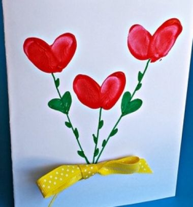 Easy DIY fingerprint heart flower card - Mother's day card // Szív virágos képeslap ujjlenyomatokból anyák napjára // Mindy - craft tutorial collection // #crafts #DIY #craftTutorial #tutorial