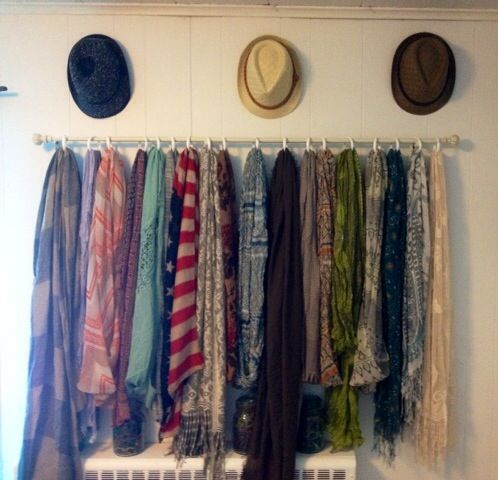 Curtain Rod To Hang Scarves My Closet Pinterest Curtains Scarfs And Hang Scarves