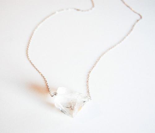 Quartz and Chain Necklace  by giantLION @ Uncovet  //  A large raw chunk of quartz on delicate sterling silver chain and a sterling silver lobster clasp.: Accessories Necklaces, Kindergarten Teacher, Chain Necklaces
