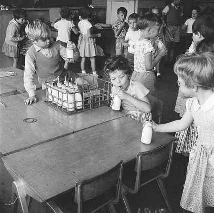 Free morning milk at Courtland Primary School, Mill Hill: 1959, Henry Grant