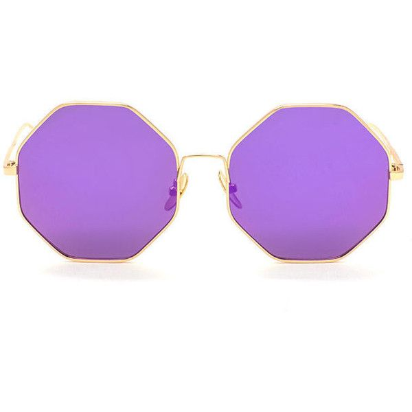 PURPLE In The Octagon Wire Sunglasses ($6.44) ❤ liked on Polyvore featuring accessories, eyewear, sunglasses, purple, holographic sunglasses, purple glasses, oversized sunglasses, octagon glasses and holographic glasses