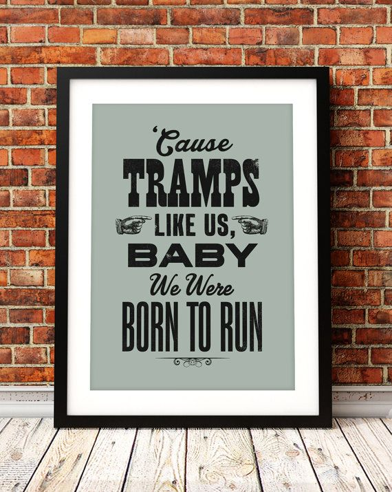 Bruce Springsteen song lyric art Bruce by TheIndoorType on Etsy, £10.99
