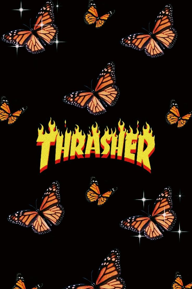 aesthetic orange butterfly thrasher iphone wallpapers cute cartoon