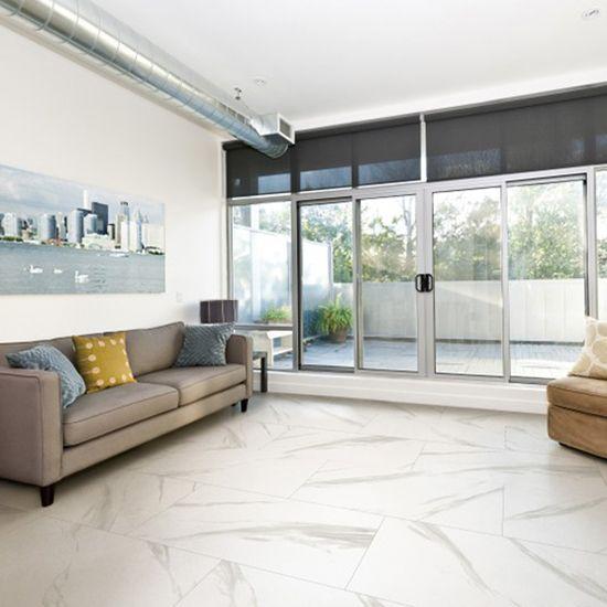 Mandeville matt or gloss tile in frost.  600mm x 600mm; 600mm x 1200mm