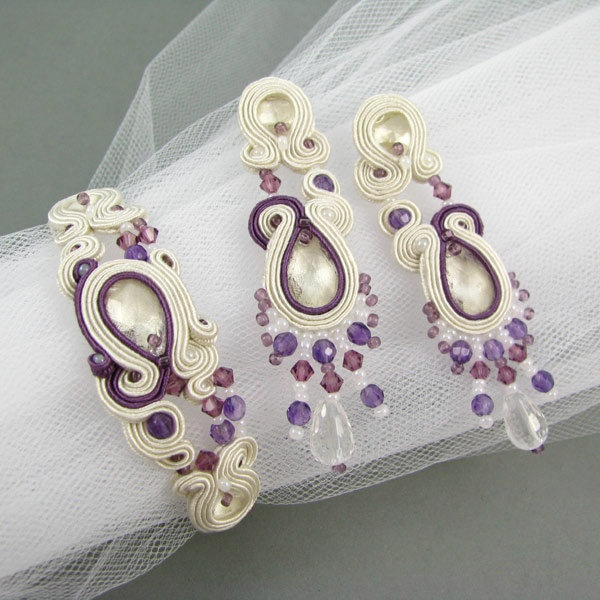 Bridal soutache set with Swarovski elements and amethysts...