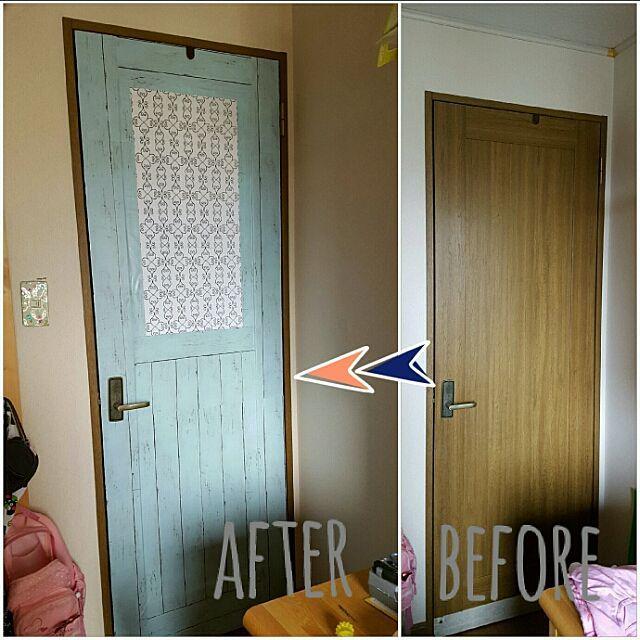 玄関 入り口 Daiso リメイクシート 娘の部屋 水色のドア などの